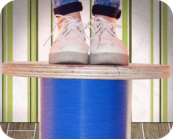 Sgabello legno da bobine avvolgicavo elettrici e telefonici