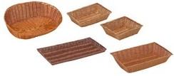 presentazione cestini e vassoi in plastica tipo vimini per pane