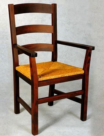 Sedie in legno impagliate con braccioli for Sedie con braccioli