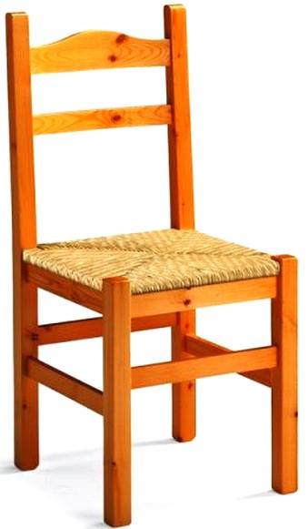 sedia legno massello pino seduta paglia occasione