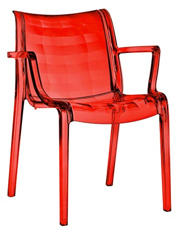 Sedia con braccioli in policarbonato impilabile for Sedie in policarbonato trasparente
