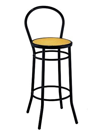 Sgabello con schienale in tubo e sedile paglia di vienna for Sedie acciaio e paglia di vienna
