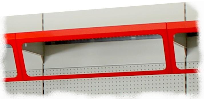 Particolari scaffalature metalliche piani forati base rack for Piani frontali con frontalino
