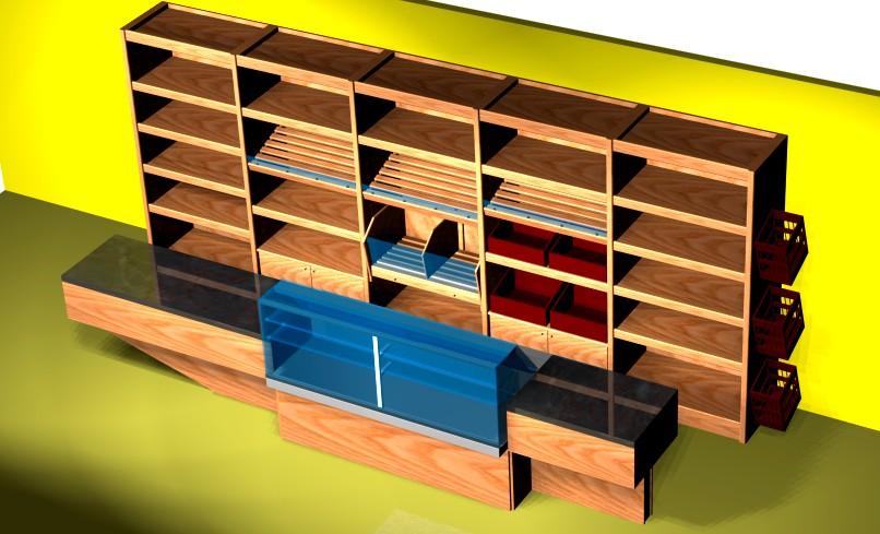 Arredamento negozi prezzi scaffale panetteria spalle legno for Negozi per mobili