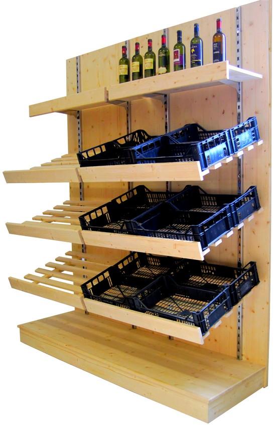 Negozi frutta verdura piani cassette legno abete naturale for Scaffali per furgoni fai da te