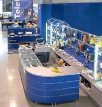 Arredamenti negozi sky elettrodomestici scaffalatura gbc for Vendita arredamento usato online