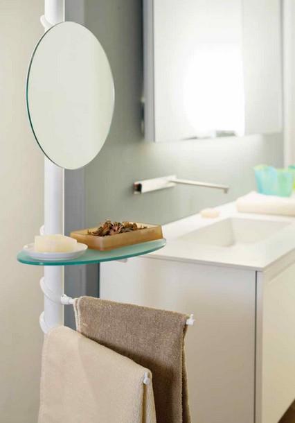 Palo porta specchio mensola vetro saloni bellezza - Specchio ovale per bagno ...