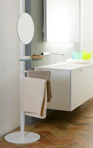 Piantana di servizio bagno con specchio porta salviette - Mensola vetro bagno ...
