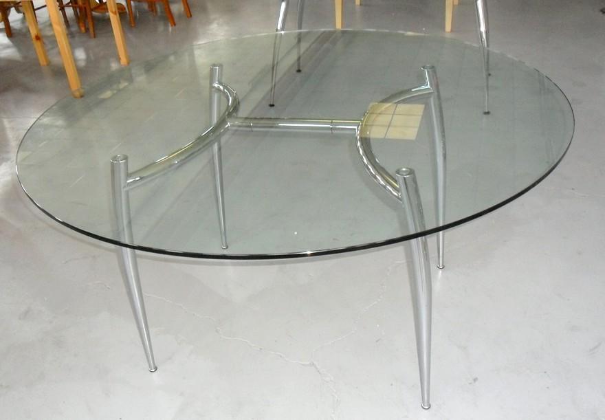 Tavolo piano vetro rotondo diametro struttura tubo cromato for Tavolo rotondo vetro