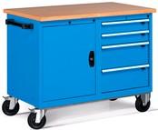 carrello con antina e cassettiera per officine con piano legno ...