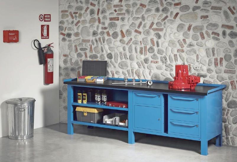 Tavolo Da Lavoro Acciaio : Banchi lavoro lamiera officina industria piano legno