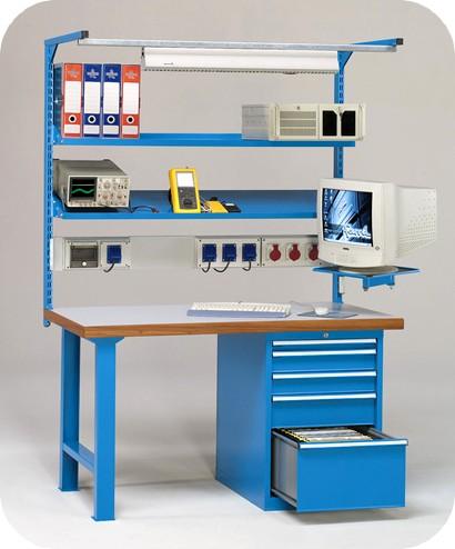 Postazione lavoro elettrotecnico monitor e cassettiera for Piani di officina distaccati