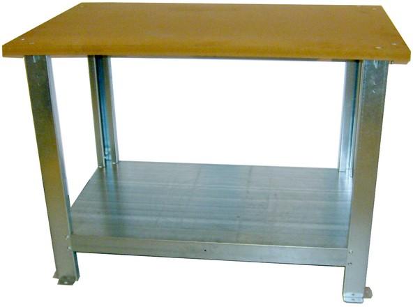Banco da lavoro piano in lamiera zincato per laboratorio - Tavolo da lavoro con ruote ...
