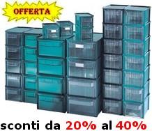 cassettiere in plastica verde o trasparente sovrapponibili