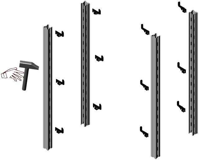 assemblaggio fiancata scaffalature magazzino metallo gancio