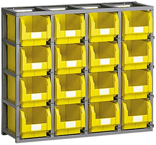 scaffali per contenitori plastica e cassette metallo misura